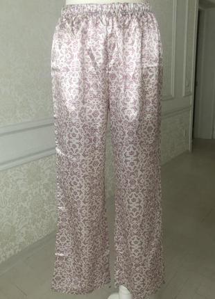 Штаны домашние, пижама , бежево-розовая , размер м