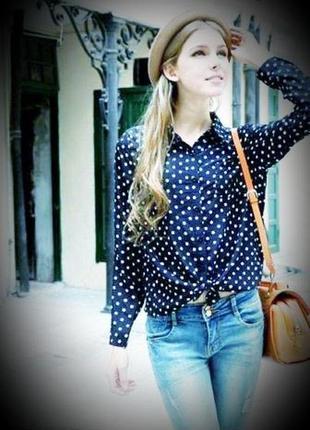 Актуальная турецкая шифоновая блузка/рубашка синяя в белый горох sedato в стиле asos.