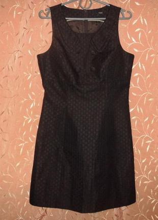Черное жаккардовое платье с воротничком next размер 10