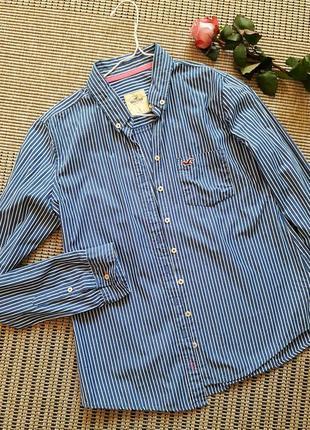 Рубашка синяя в белую полоску# hollister #оригинал