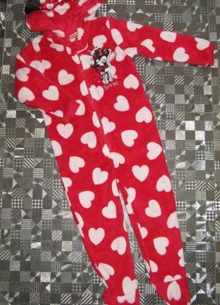 Красивейший теплый человечек (пижама, кигуруми) disney minnie maus (2-3года)