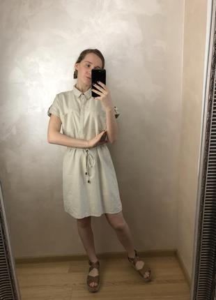 Льняное платье/рубашка  с пояском от f&f