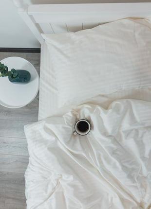 """Евро комплект постельного белья из страйп-сатина """"ваниль"""", 100% хлопок, шана-текстиль"""