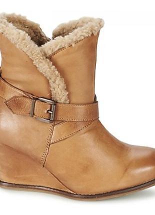 Новые lotus кожаные сапоги женские сапожки 39 зима ботинки беж