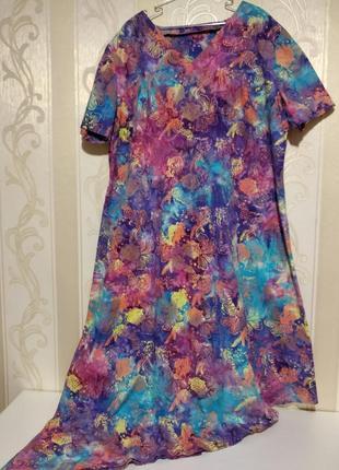Супер платье с красивым принтом на пышную женщину,