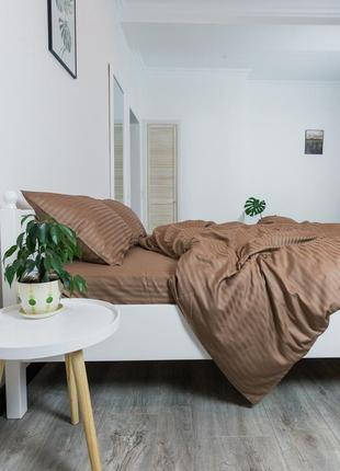 """Двуспальный комплект постельного белья из страйп-сатина """"шоколад"""", 100% хлопок"""