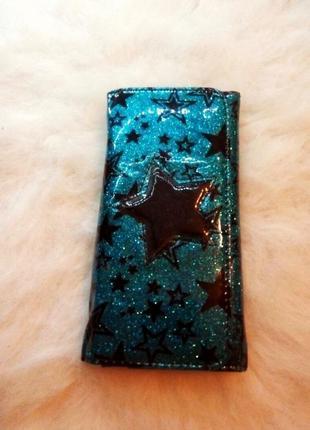 Заряжен на валюту!  кошелек со звездами и блестками синий черный блестки большой средний