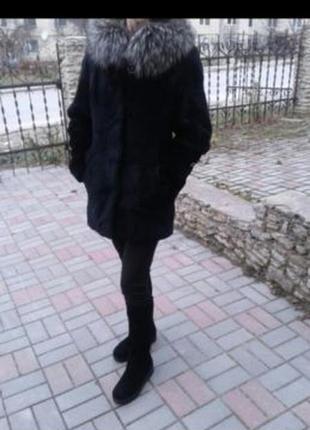 Шубка бобрик капюшон чернобурка