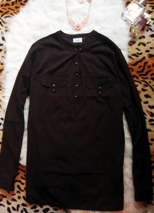 Новая черная матовая блуза рубашка без воротника батал большой размер next