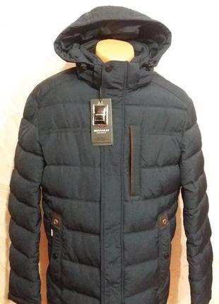 Теплая зимняя удлиненная темно-синяя куртка размер 50