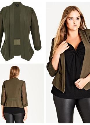 Стильный пиджак/блейзер с шифоновыми рукавами и вставками от city chic