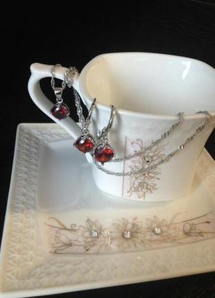 Набор серебро 925 пробы кровавый рубин