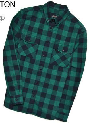 Burton s / плотная мужская рубашка в сине-зелёную клетку. овершот