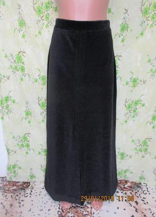 Теплая бархатная юбка в пол/велюровая/с разрезом 46-48 размер/зимняя
