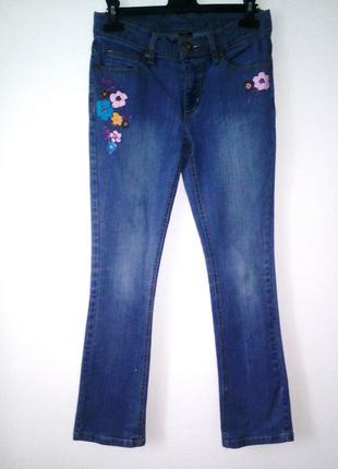 Стильные джинсы с принтом (цветы) 13 лет