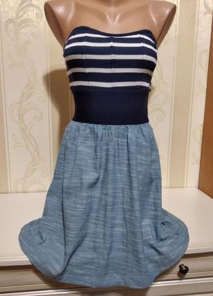 Морское  платье с красивым лифом .