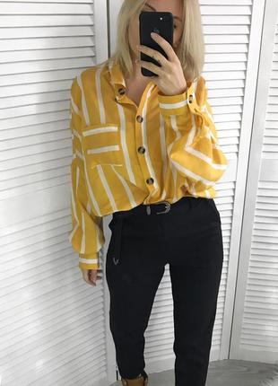 Яскрава жовта блузка в білу полоску2