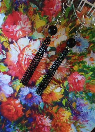 Черные серьги шарики с висюльками цепочки модные
