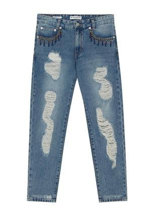 Стильные джинсы pull&bear с потёртостями и разрывами р. 38