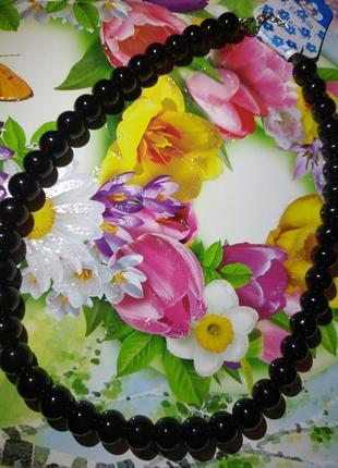 Бусы ожерелье черные стильное