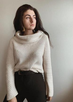 Фактурный молочный свитер от marks&spencer