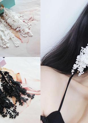 Невероятные длинные серьги кружево белые3 фото