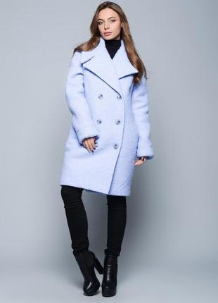 Пальто x-woyz нежного голубого цвета р.48-50 шерсть букле