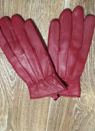 Кожаные красные перчатки на утеплителе