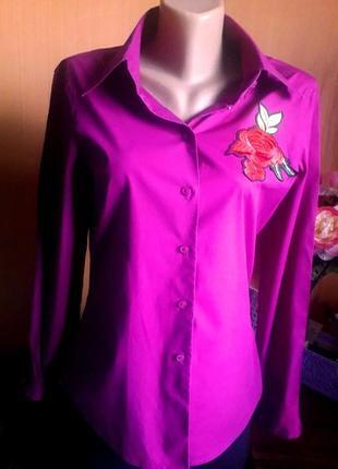 Рубашка с нашивкой вышивка цветы розовая фуксия коттон роза хлопок натуральная блузка