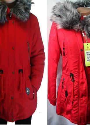 Куртка курточка зимняя красная парка holdluck, р. s