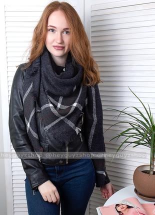 Палантин накидка шаль шарф объемный черный в клетку клетчатый платок длинный широкий
