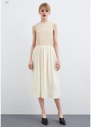 Платье s m l крестовое вязка вверху zara оригинал вышивка миди кружево рюши