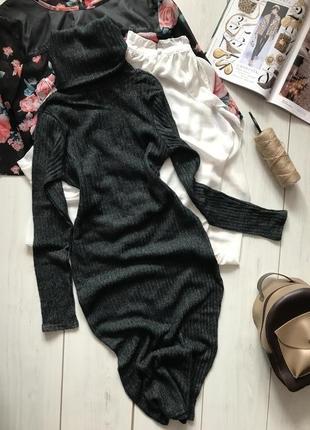 Теплое вязаное платье под горло