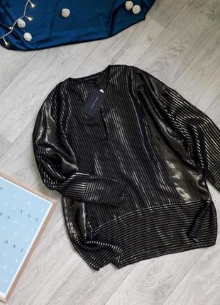 Шикарная блуза черная с золотистой люрексовой нитью от zara