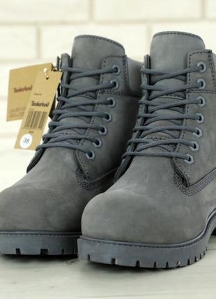 Серые ботинки натуральный мех, модель унисекс