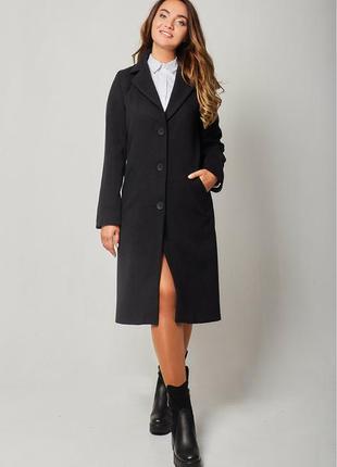 Классическое,теплое черное пальто с красной подкладкой,шерстяное кашемировое