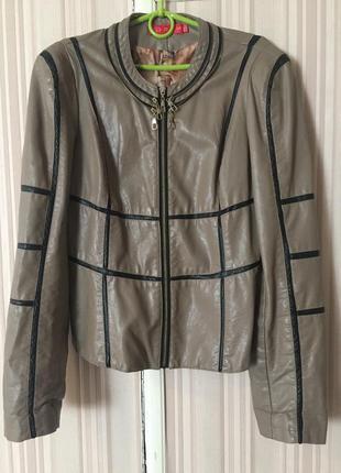 Куртка косуха пиджак не кожа стильная красивый цвет бежевая таупе