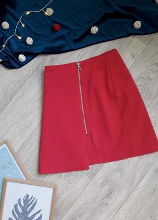 Яркая малиновая юбка с молнией george