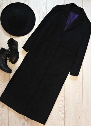 Шикарное длинное макси миди шерстяное пальто прямого кроя next