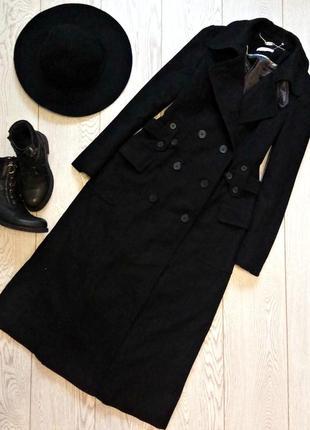 Шикарное длинное макси миди дизайнерское шерстяное пальто тренч john rocha
