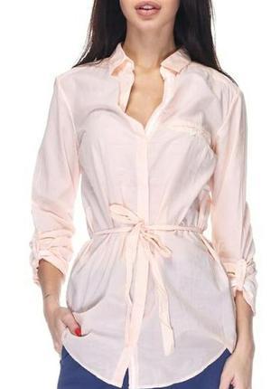 Персиковая в белую полоску рубашка фирма massimo dutti