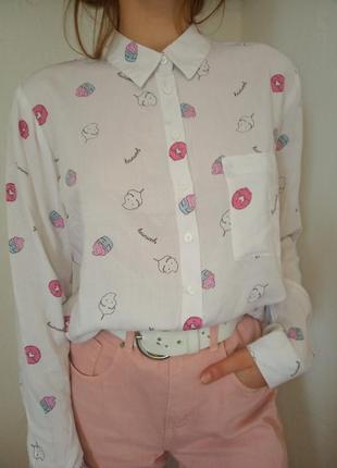 Милая,яркая блуза, рубашка  с вкусняшкам