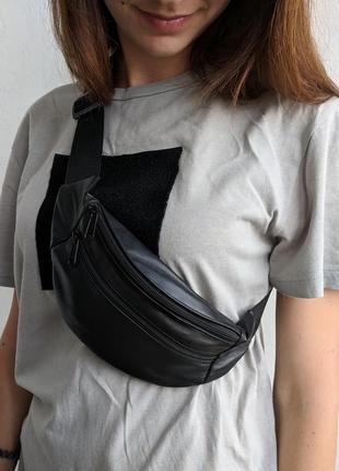 Бананка натуральная кожа, стильная сумка на пояс черная матовая кожа