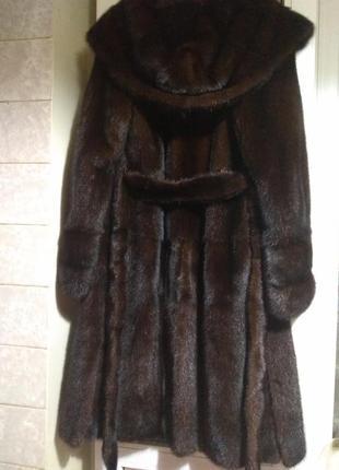 Шикарная норковая шуба греция длина 110 с капюшоном р.46-48
