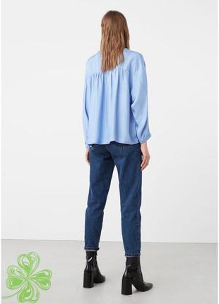 Атласна рубашка mango розкішного голубого кольору2