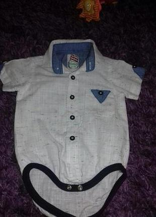 Бодик рубашка. 2-5 месяцев. тонкий лен