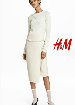 Невероятная, кожанная юбка, с запахом. h&m. 40(l)