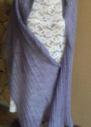 Пушистый шарф шаль крупной вязки в подарок