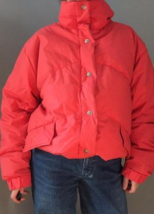 Коралловый пуховик куртка , оверсайз пух натуральный 90-е
