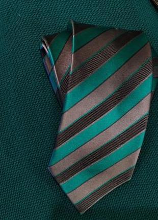 Галстук в полоску зеленый с серым